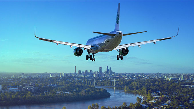 airplane flight city landing