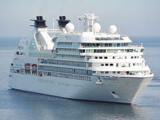big white cruise ship