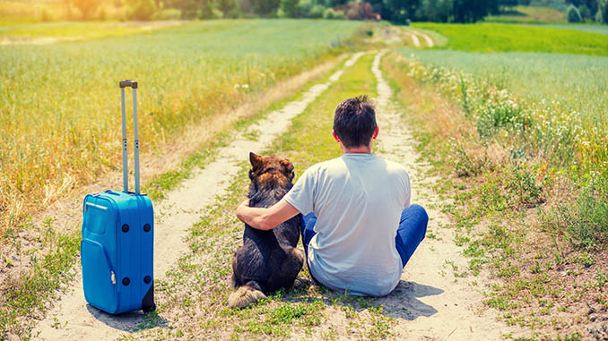 man traveling with his dog