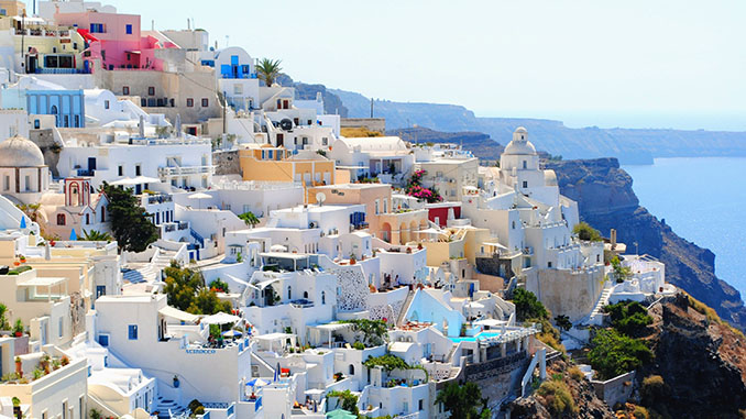 santorini white and beige houses