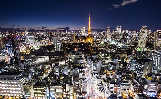 tokyo night city view