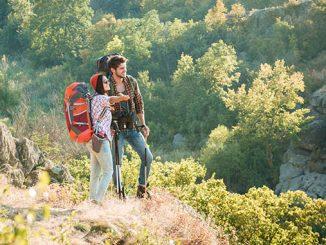 traveling couple near a canyon