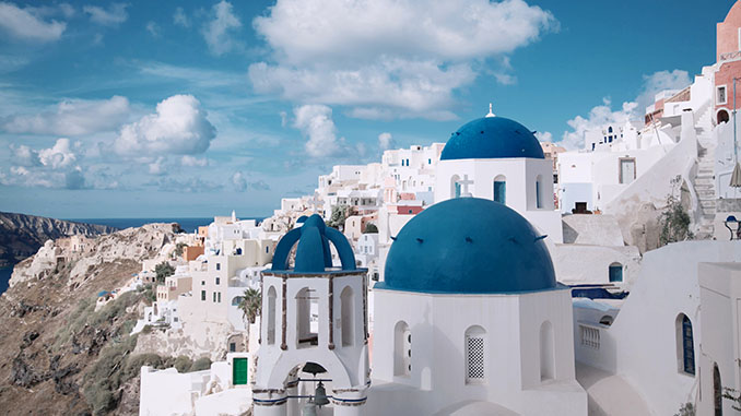 white buildings in santorini greece