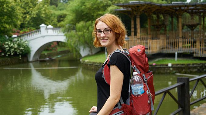woman tourist visiting japan